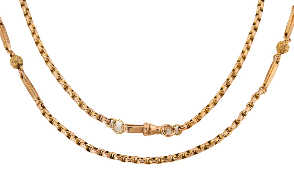 "Victorian 22"" Gold ""Ball and Tether"" Belcher Chain, (17.3g)"
