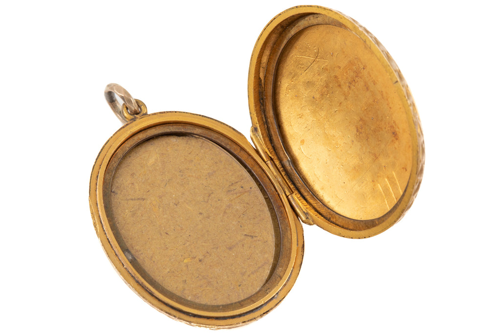 Victorian Gold Oval Floral Bouquet Locket, 9ct Gold Back and Front
