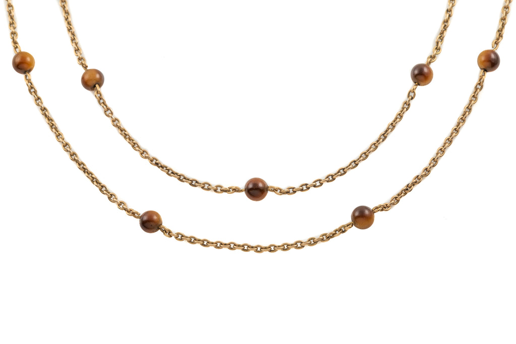 Victorian 15ct Gold Tiger's Eye Chain, 51""