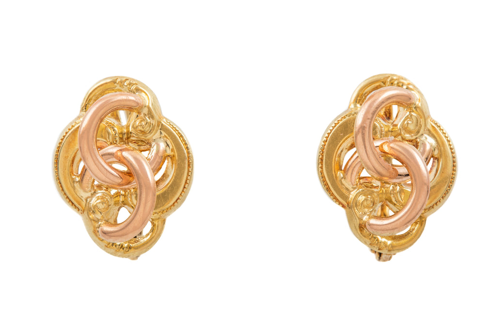 14ct Gold Two-Tone Knot Lever-Back Earrings