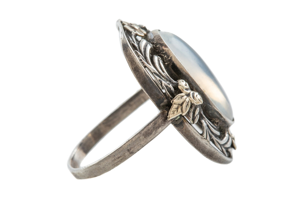 Arts and Crafts Silver Moonstone Ring, (2.60ct)