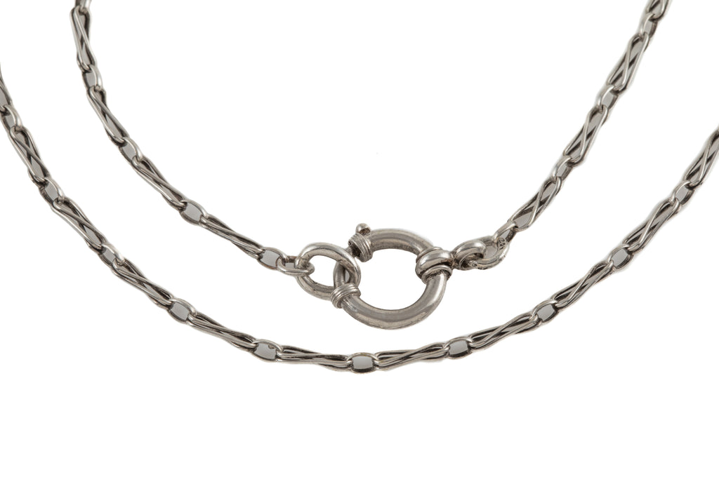 Antique Silver Fancy Link Chain with Large Bolt Ring, 18 & 1/4""