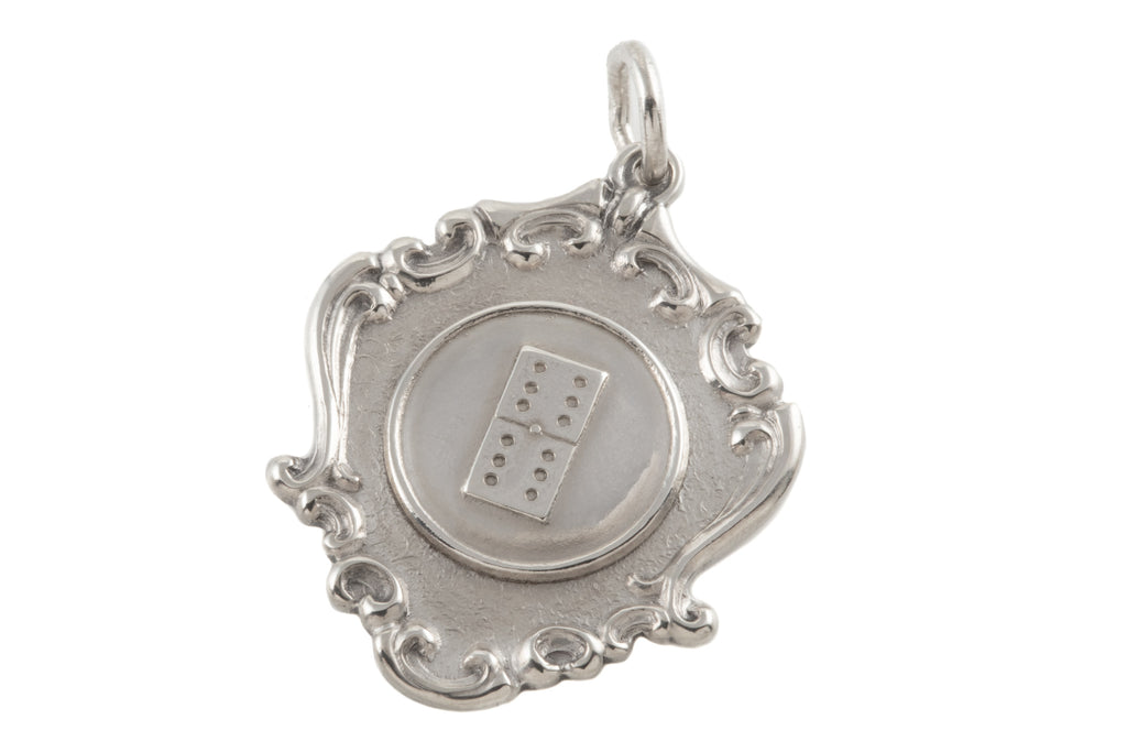 "Lucky Silver ""Double Six"" Fob Medal Pendant"