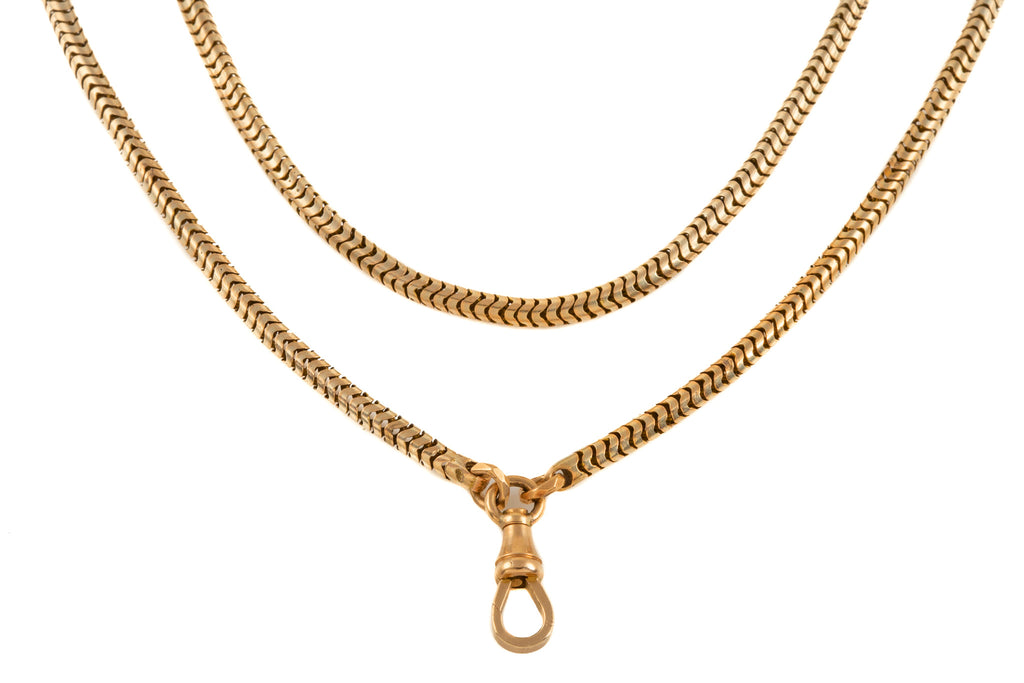 "Antique Gold Snake Guard Chain, 61 & 1/4"" (48.2g)"