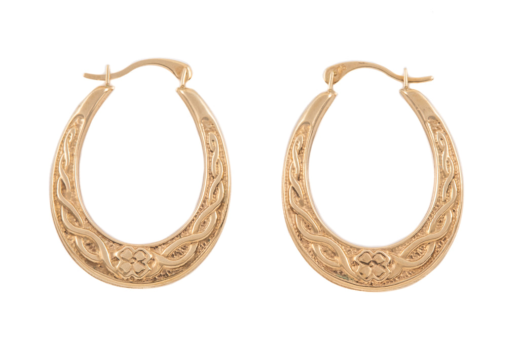 9ct Yellow Gold Oval Celtic-Style Hoops