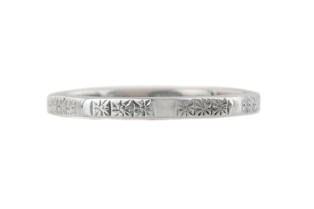 Art Deco 18ct White Gold Wedding Band