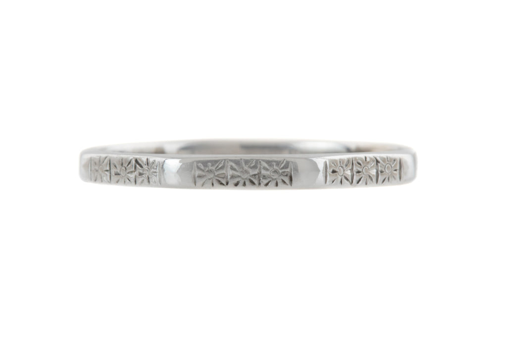 Art Deco Revival 18ct White Gold Wedding Band