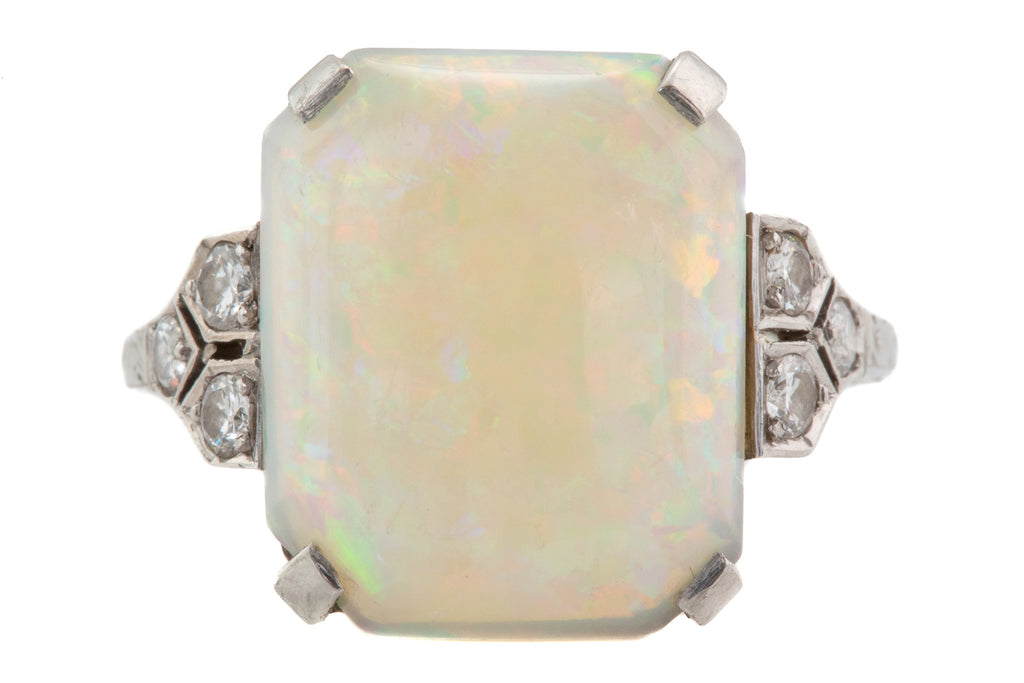 Art Deco 18ct White Gold Platinum Opal Diamond Ring, (2.98ct)