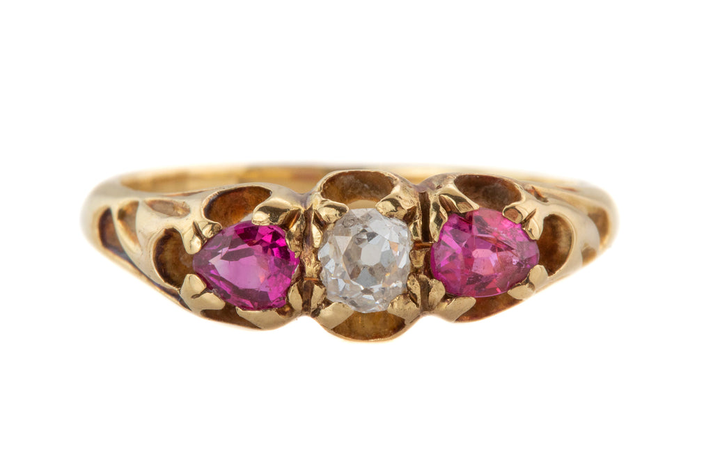 Victorian 15ct Gold Diamond Ruby Trilogy Ring