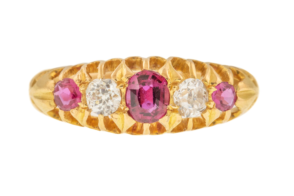 18ct Gold Edwardian Ruby Diamond Five Stone Ring c.1904