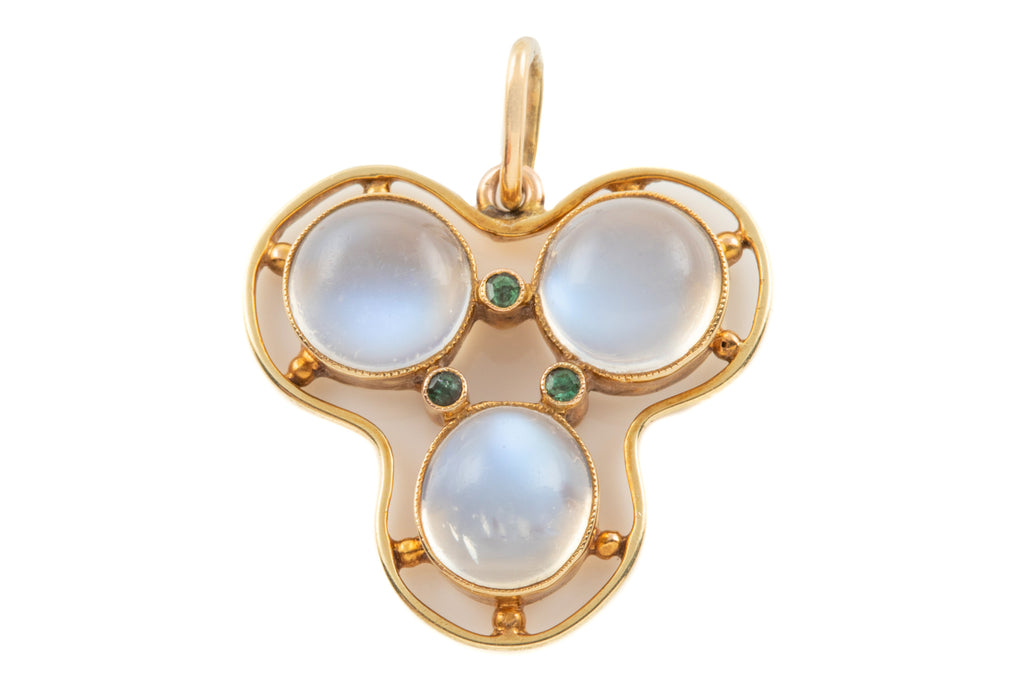 Art Nouveau 15ct Gold Moonstone Demantoid Pendant