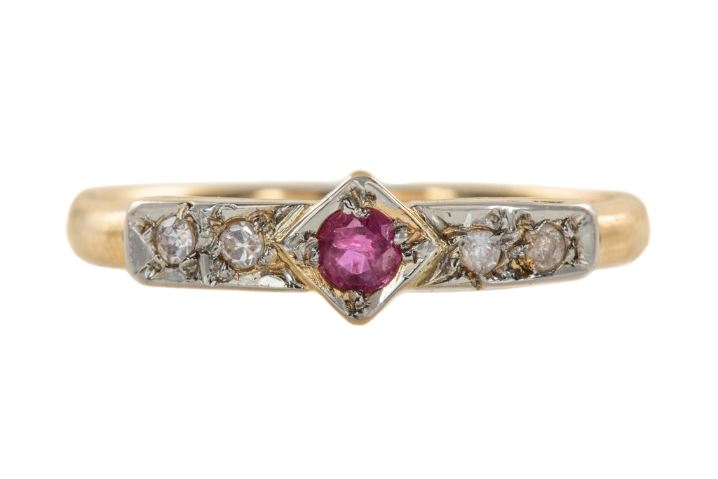 Art Deco 18ct Gold Ruby Diamond Stacking Ring