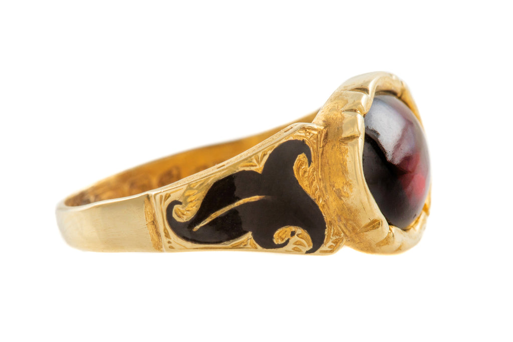 Rare Edwardian 15ct Gold Enamel Garnet Mourning Ring, (1.90ct) c.1902