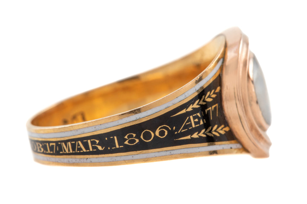 Georgian 18ct Gold Black & White Enamel Mourning Ring, c.1806