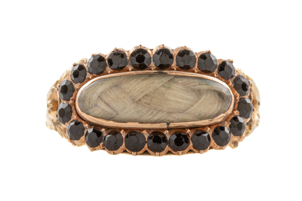 Rare Georgian 15ct Gold Jet Mourning Ring with Blonde Hair, c.1804