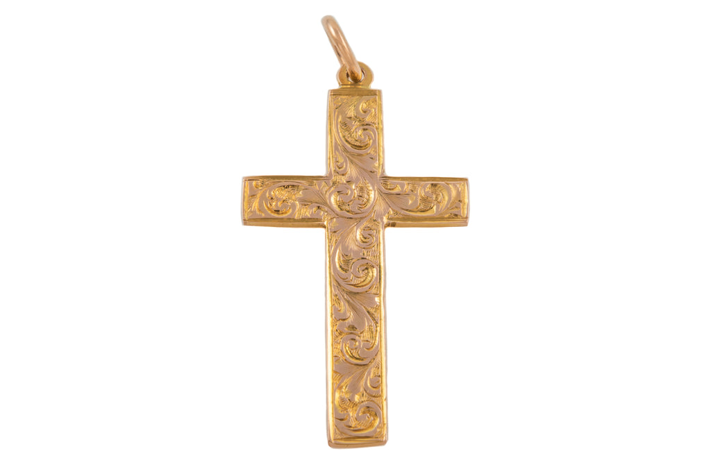 Art Deco Gold Cross Pendant, c.1920
