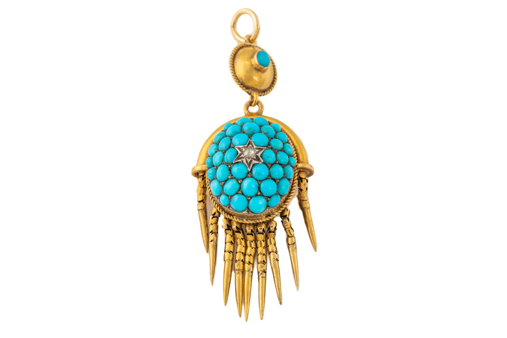 Victorian 15ct Gold Turquoise Pave Diamond Pendant