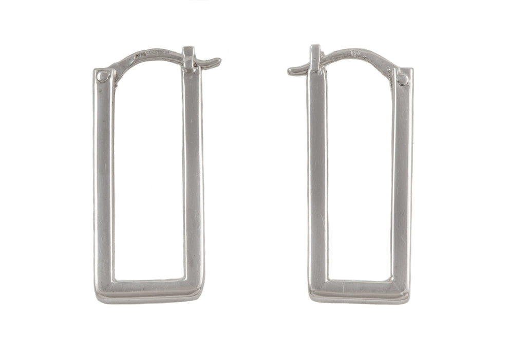 White Gold Rectangular Hoop Earrings