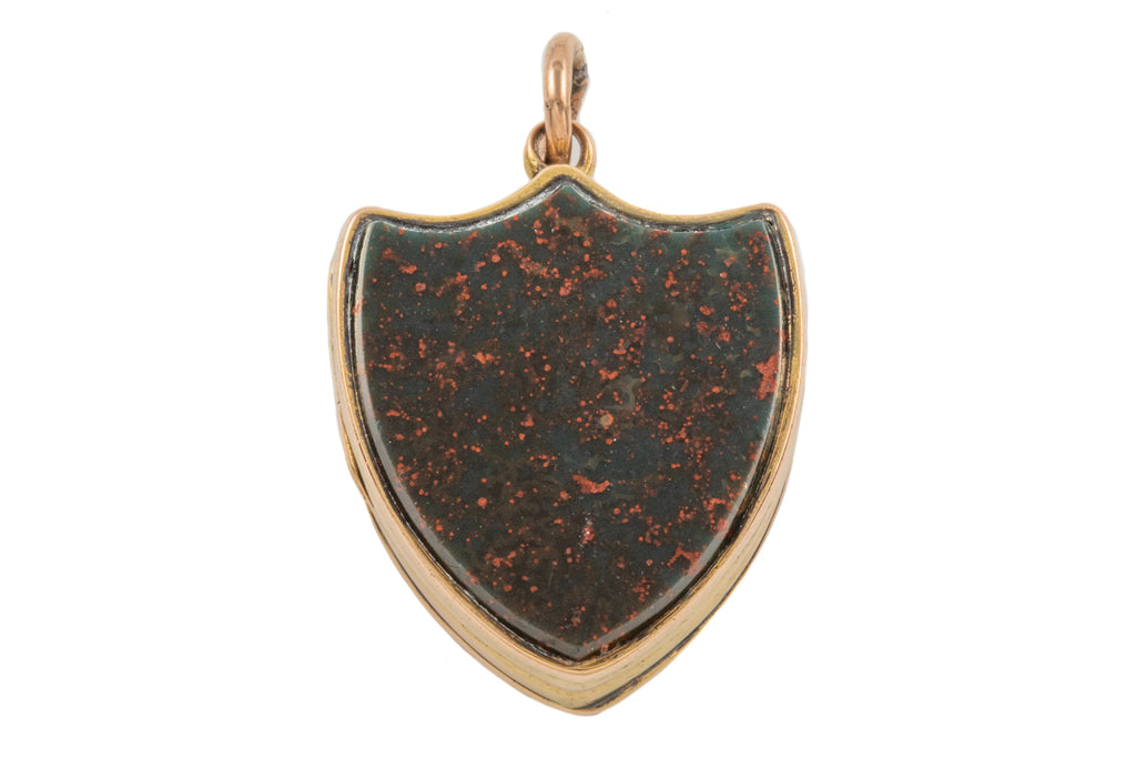 Victorian 15ct Gold Bloodstone Agate Shield Locket