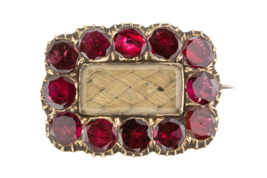 Georgian 12ct Gold Garnet Blonde Hair Mourning Brooch