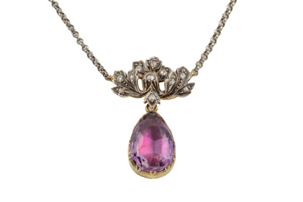 "Georgian 15ct Gold Amethyst Diamond Pendant, with 17 & 1/2"" Integral Chain"