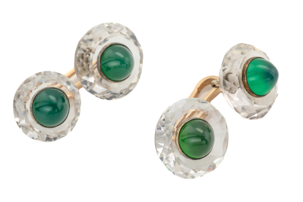 Art Deco Chrysoprase Rock Crystal Cufflinks