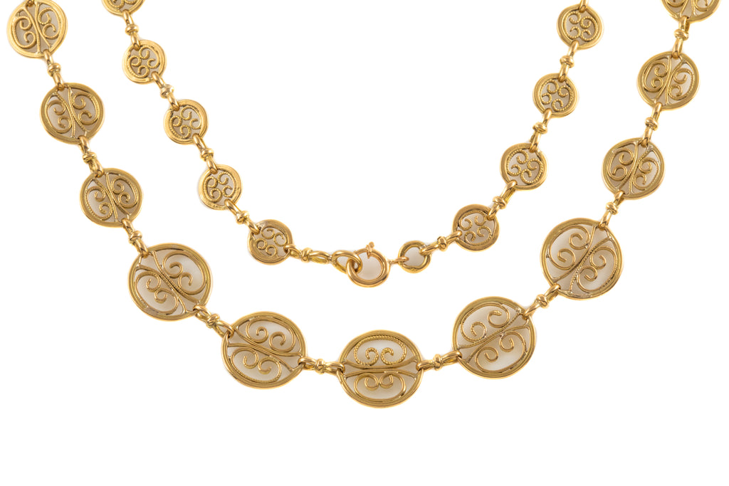 "Antique French 18ct Gold Fancy Disk Necklace, 18"" (25g)"