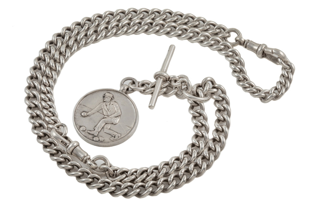 "Art Deco Silver Extendable T-bar Chain with Boules Medal, 21 & 6/8"" (69g)"