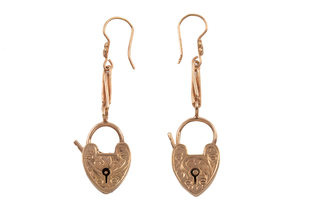 Victorian Gold Heart Padlock Drop Earrings