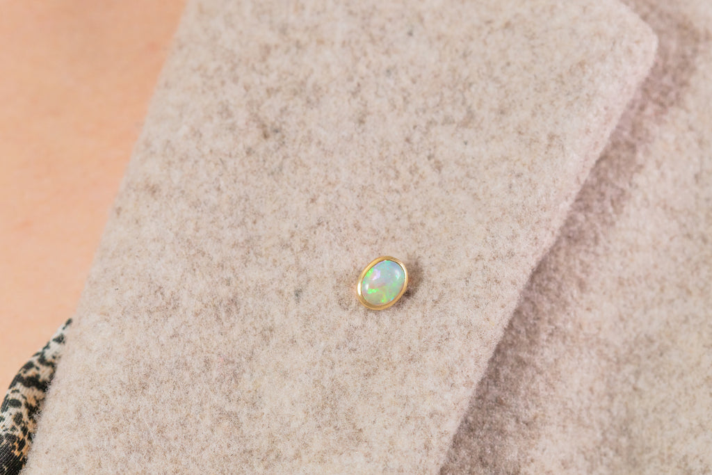 Antique 15ct Gold Opal Stick Pin, (0.55ct)
