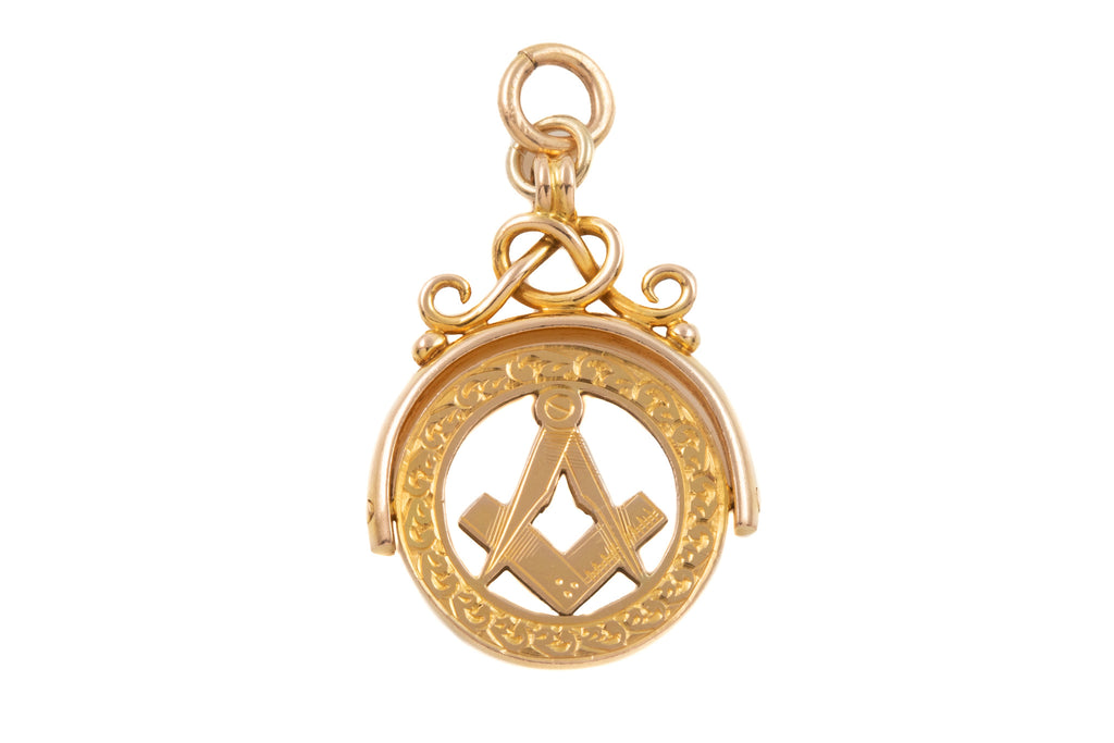 Victorian Revival Gold Masonic Spinner Fob, c.1929