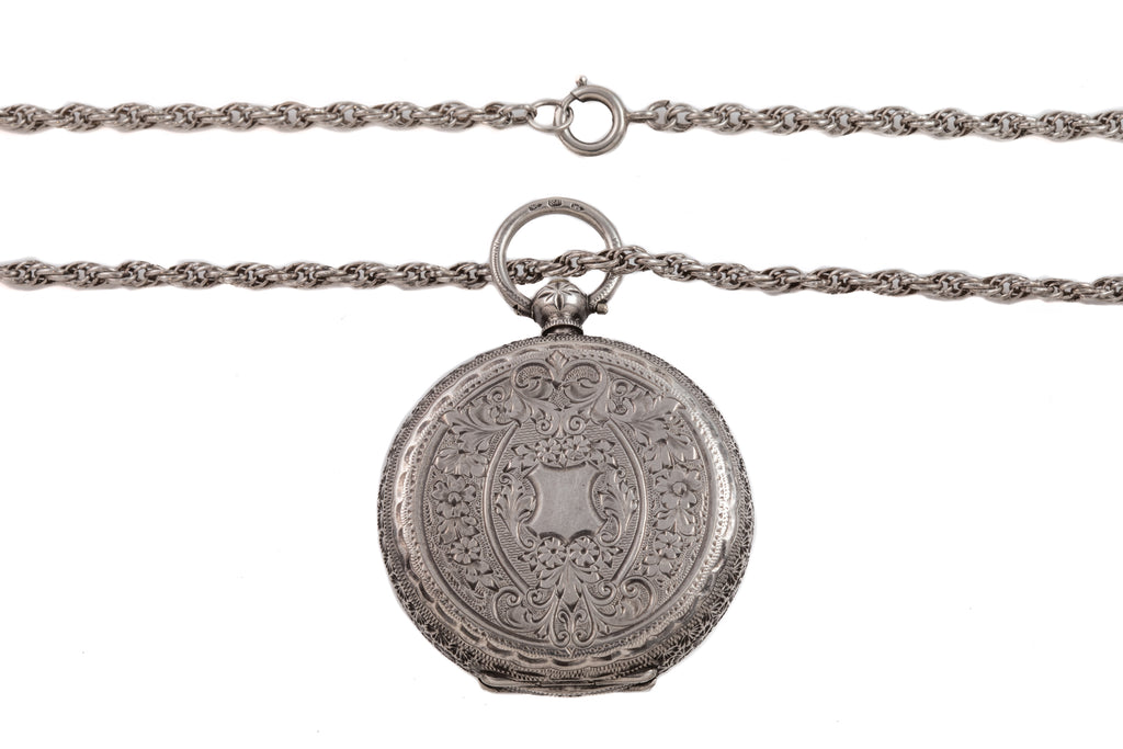 "Antique Swiss Silver Pocket Watch, with 25"" Silver Chain"