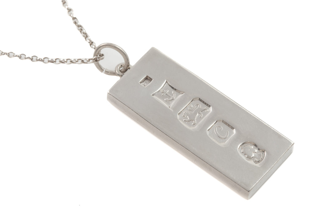 "Heavy Silver Ingot Pendant with 25"" Chain, (36g) c.1977"