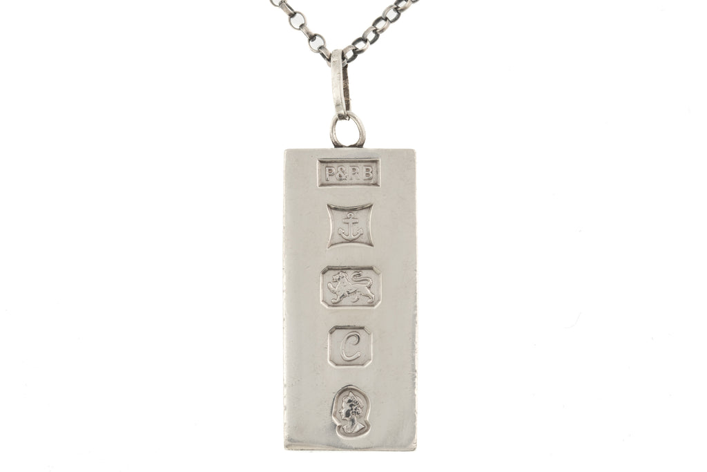 "Solid Silver Ingot Pendant, with 22"" Chain"