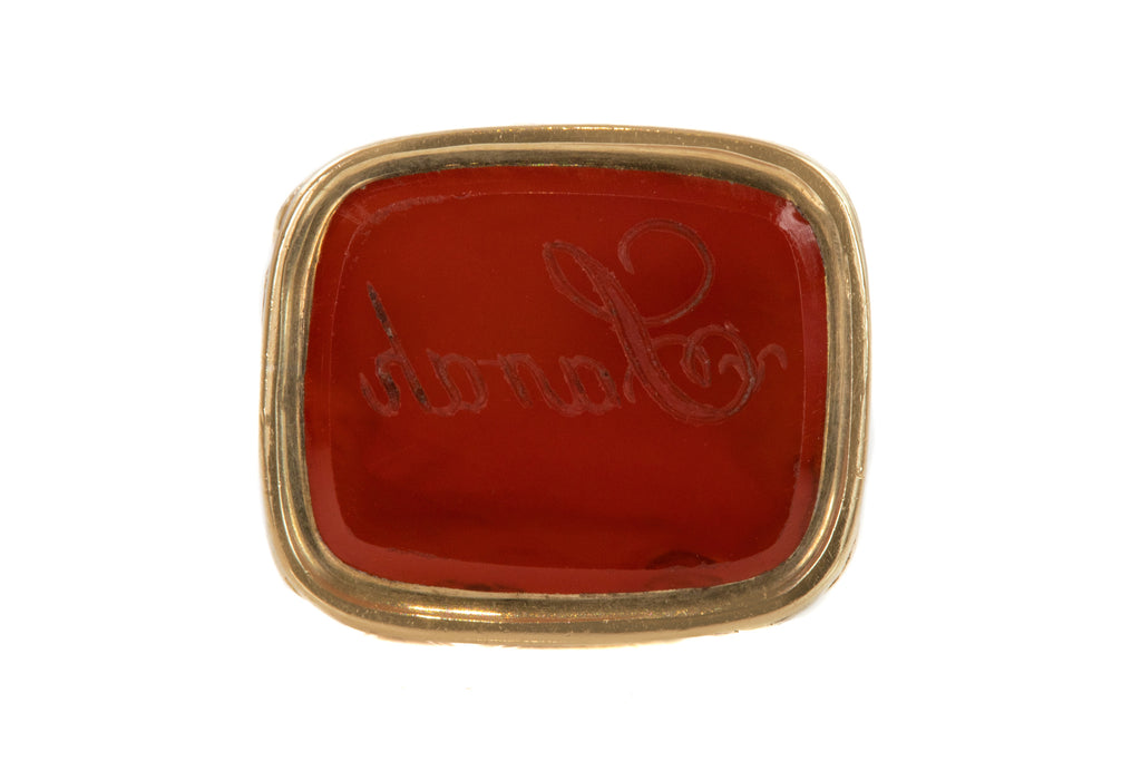 "Antique Gold Cased Carnelian Fob, ""Sarah"" Intaglio"