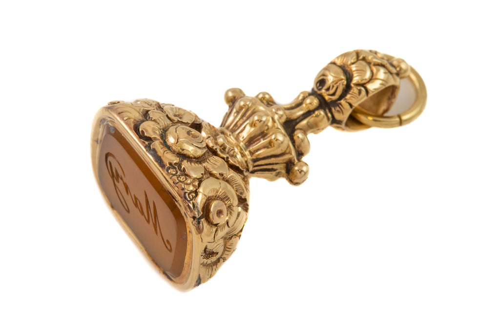 "Victorian Gold Cased Floral Agate Fob, ""Mary"""