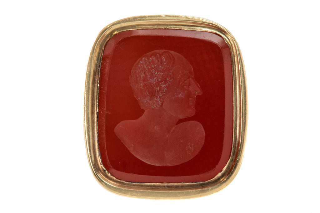 Antique Gold Cased Carnelian Portrait Fob