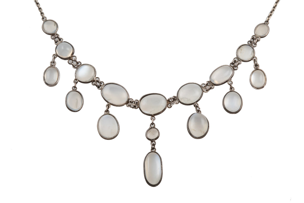 Edwardian Silver Moonstone Fringe Necklace (10.20ct), 15 & 3/4""