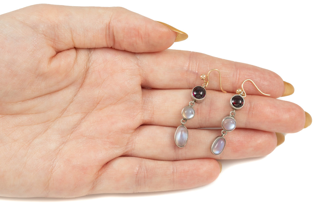 Victorian Silver Garnet Moonstone Triple Drop Earrings