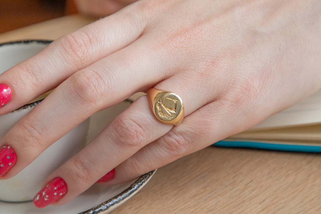 "Victorian 18ct Gold Intaglio Signet Ring, ""Salvation From The Cross"""