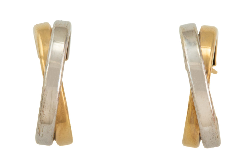 9ct Gold Bi-Colour Cross Hoop Earrings