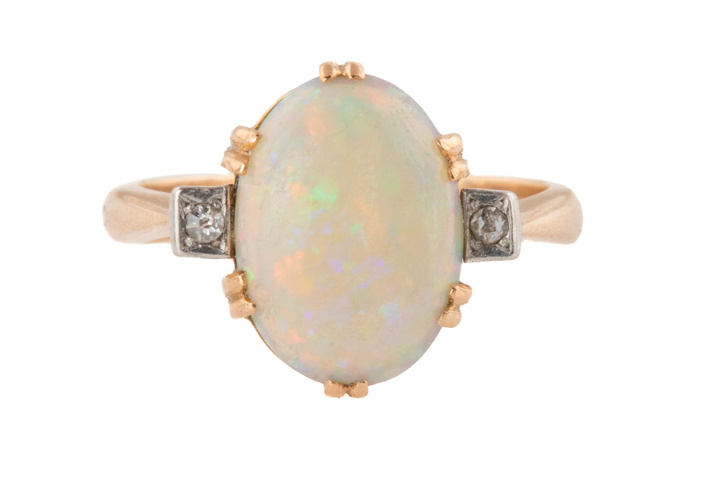 Antique 15ct Gold Large Opal Diamond Ring, (1.50ct)
