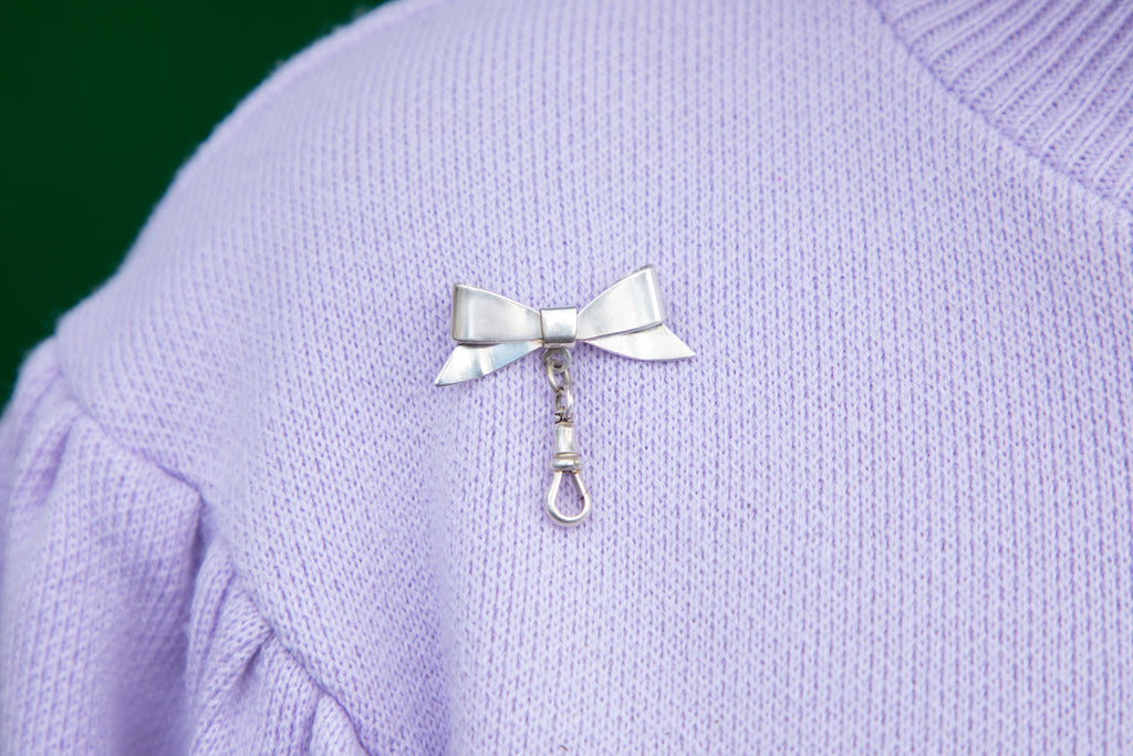 Victorian Silver Bow Brooch, Hanging Dog-Clip Charm Holder
