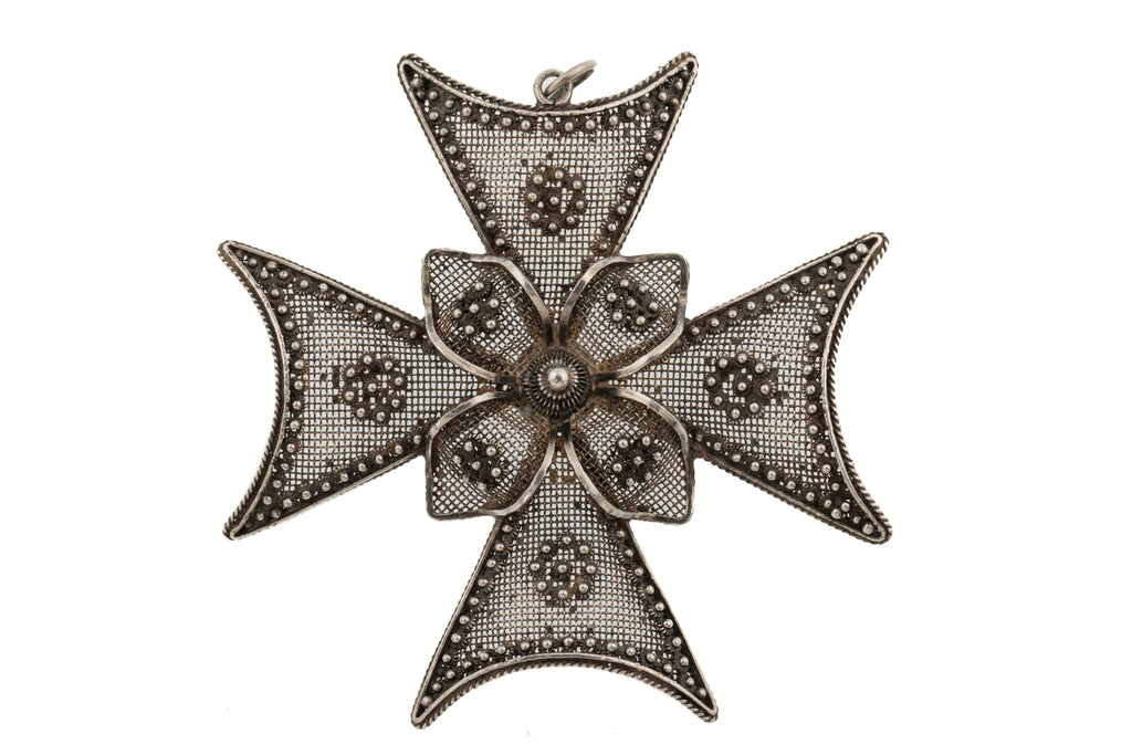 Large Georgian Cannetille Silver Cross Pendant