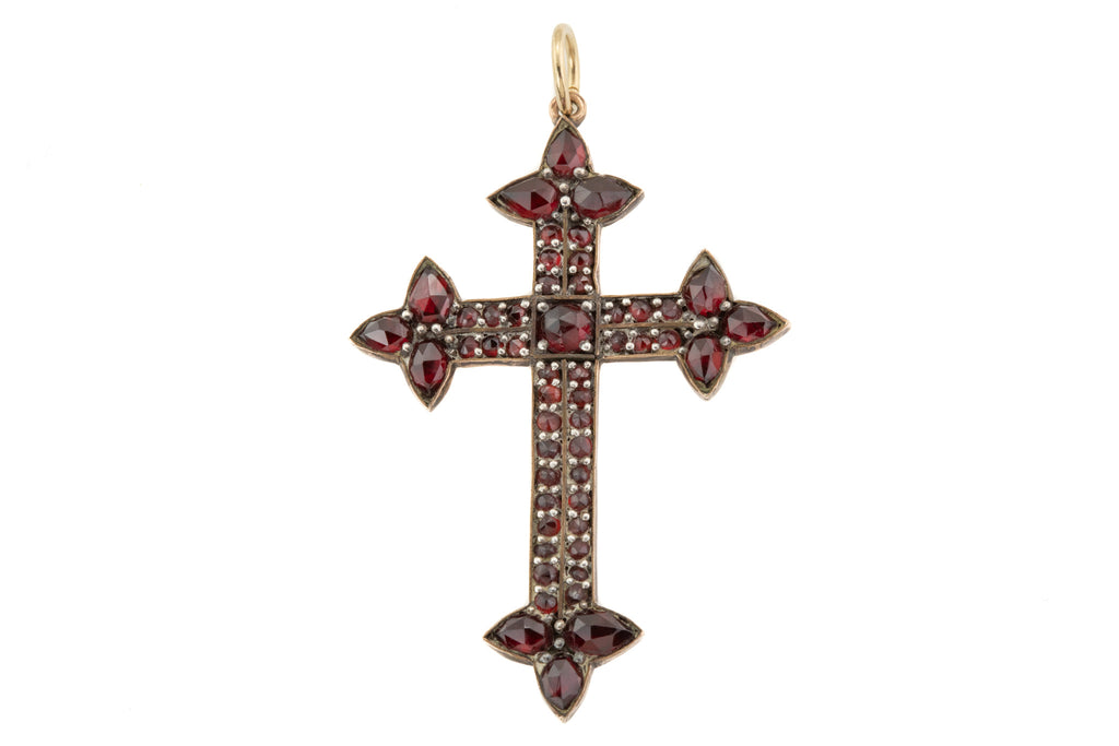 Victorian Rose Cut Garnet Cross Pendant, (3.34ct)