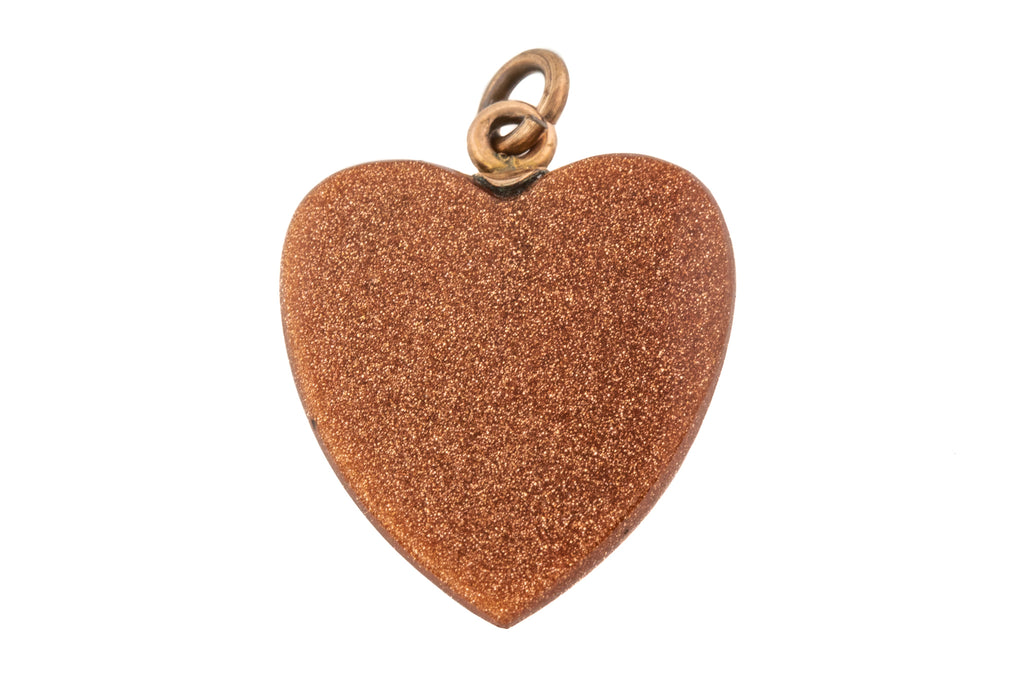 Antique Goldstone Heart Charm