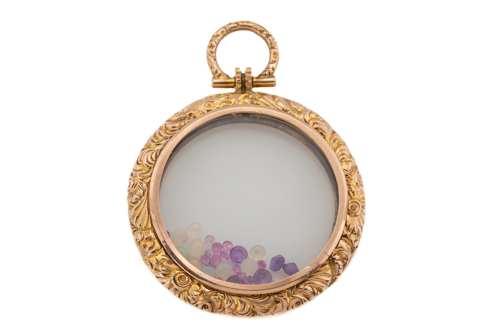 Victorian Gold Shaker Locket, with Opals Amethysts & Pink Sapphires