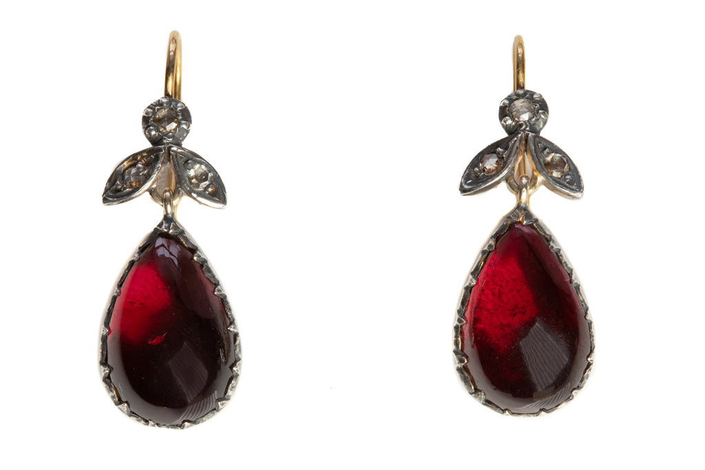 Antique Garnet Diamond Drop Earrings  (12.00ct), with 9ct Gold Hooks