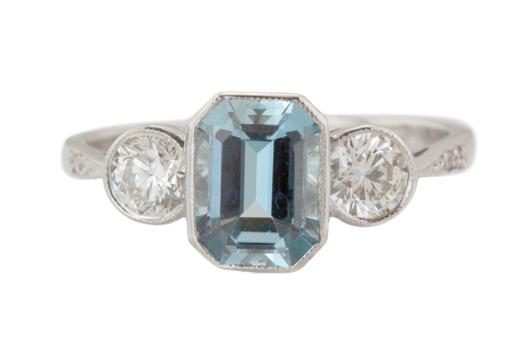 Platinum Aquamarine Diamond Trilogy Engagement Ring, (0.60ct)