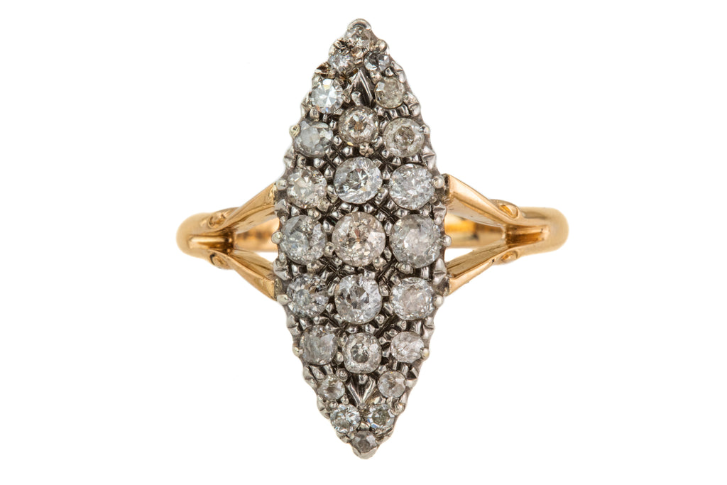 Victorian 18ct Gold Platinum Diamond Navette Ring, 0.75cts